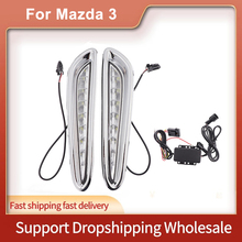 1 takım LED gündüz farları DRL Mazda 3 Axela 2012 2013 ön tampon beyaz sis lambası araba aksesuarları