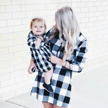 2020 sonbahar uzun kollu noel ekose aile eşleştirme elbise kıyafetler anne ve ben kış elbiseler anne kızı elbise giyim