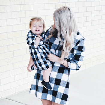2020 Autumn Long Sleeve Christmas Plaid Family Matching Dress Outfits Mommy And Me Winter Dresses Mom Daughter Dress Clothing