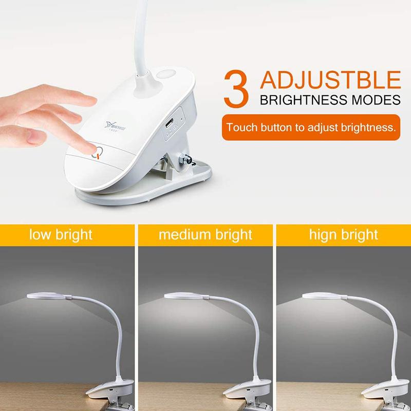 USB Led Rechargeable Mini Clip On Desk Lamp Light Flexible Nightlight Reading Lamp For Travel Bedroom Book Portable Clip Light