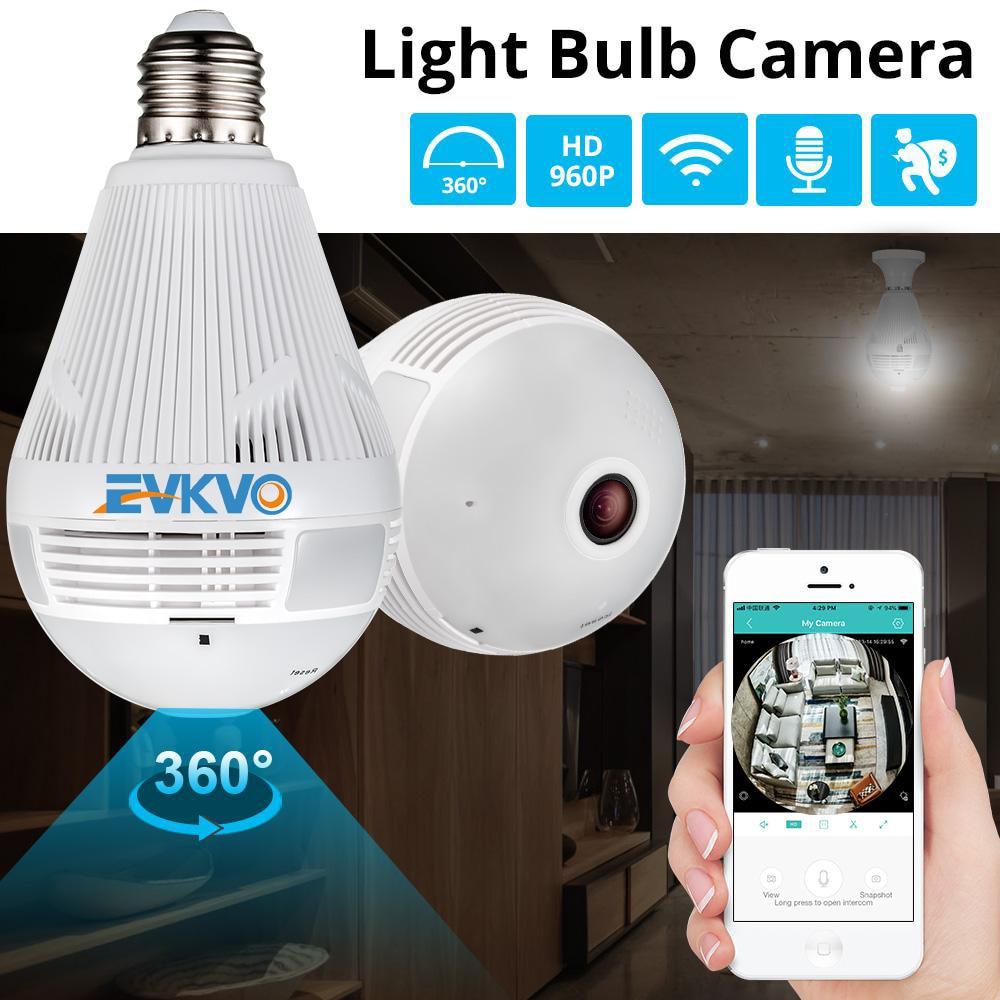 EVKVO 360 Degree LED Light 1080P Wireless Panoramic Home Security Security WiFi CCTV Fisheye Bulb Lamp IP Camera Two Ways Audio