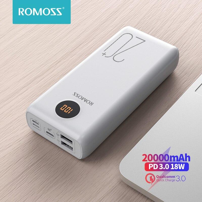 ROMOSS SW20PS + batterie dalimentation 20000 mAh USB C rapide 20000 mAh Powerbank chargeur de batterie externe Portable pour Xiaomi Mi iPhone Huawei