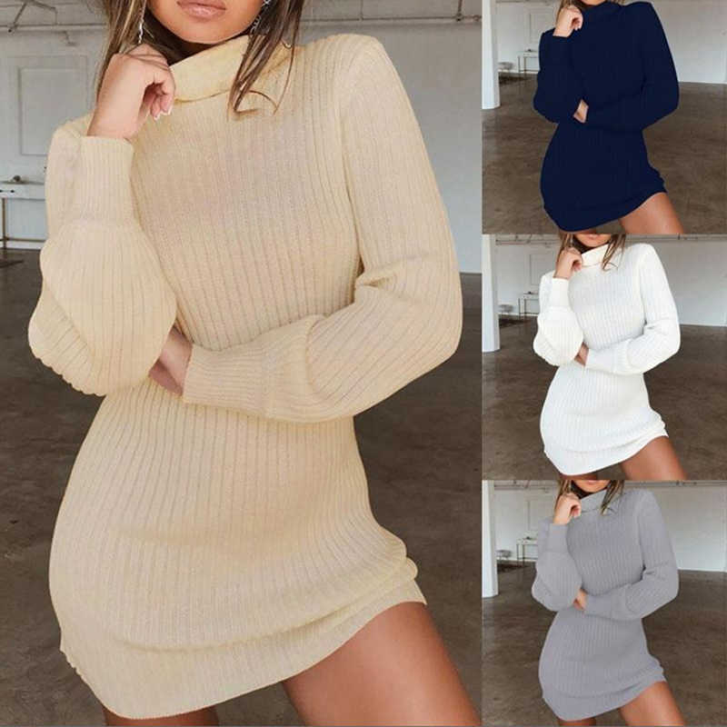 Women High Neck Slim Knitted Solid Wool Mini Dresses Fashion Ladies Basic Long Sleeve Winter Autumn Warm Dresses