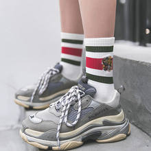 Algodão bordado meias femininas rua moda meias cabeça de tigre listrado meias esportivas de algodão europeu e americano popular meias