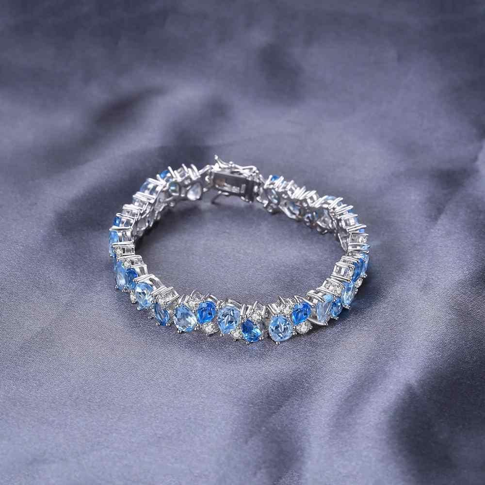 Enorme 23ct Natuurlijke Londen Blue Topaz 925 Sterling Zilveren Armband Tennis Edelstenen Armbanden Voor Vrouwen Zilver 925 Sieraden Maken