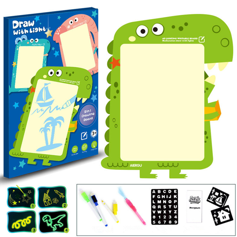 1PC 2 In 1 LED Luminous Drawing Board Magic Draw With Light-Fun Fluorescent Pen Educational Toy Graffiti Doodle Drawing Tablet