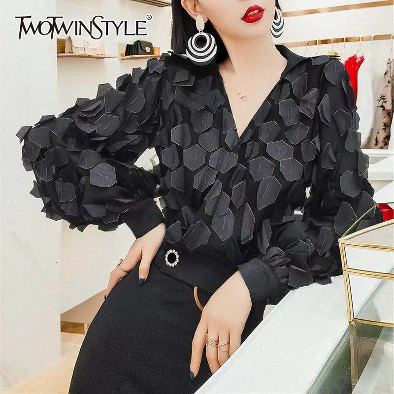 TWOTWINSTYLE Patchwork Sequined Shirts For Women V Neck Lantern Long Sleeve Tunic Irregular Blouses Female Fashion 2020 Clothing
