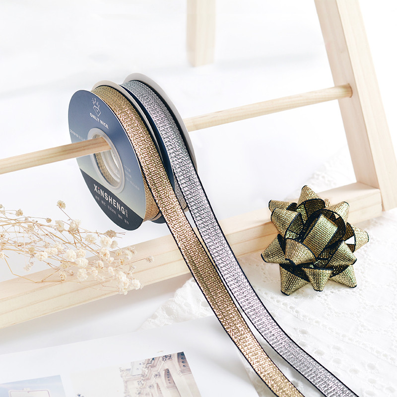 1 5cm Golden Silver Silk Ribbon Bouquet Cake Gift Wedding Arrangement DIY Packaging Material in Ribbons from Home Garden