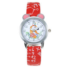 Kids Watches Fashion Cute Cartoon Unicorn Leather Strap Wris
