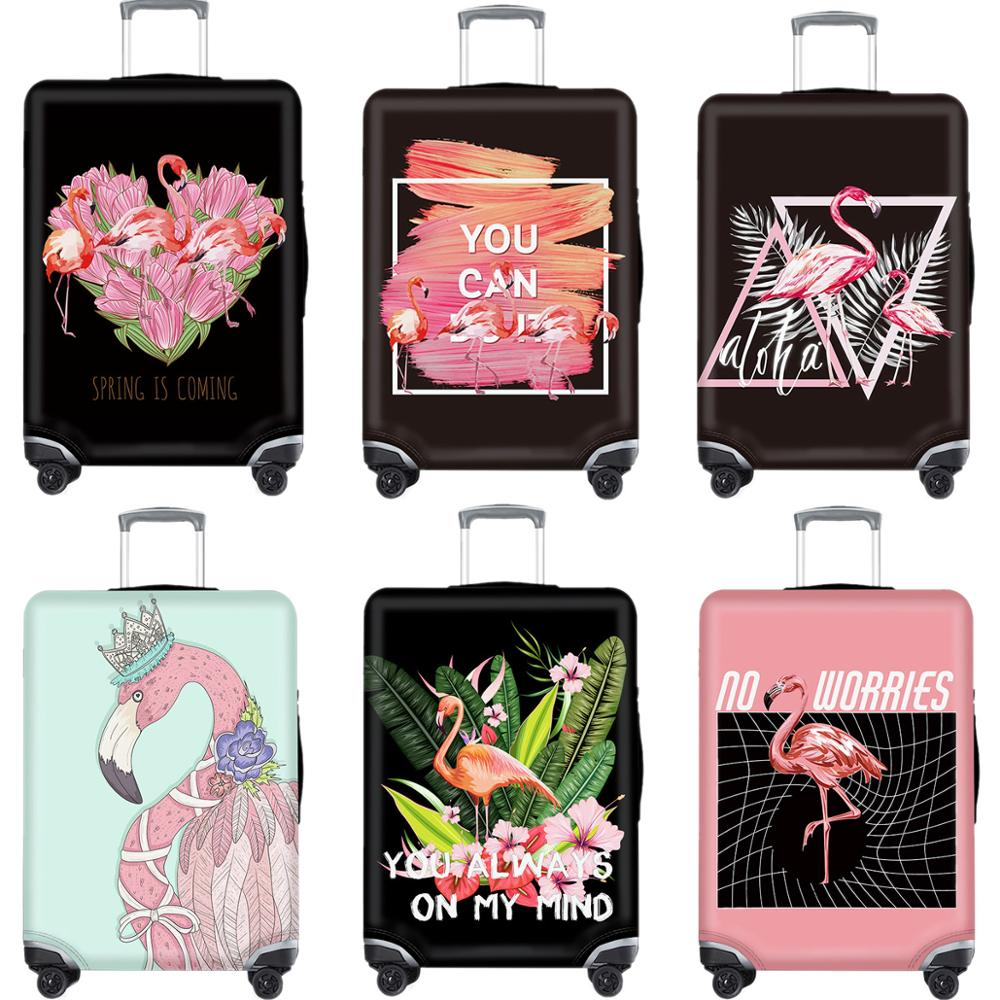 Cartoon Flamingo Luggage Case Protective Cover Cute Animal Waterproof Elastic Suitcase Cover Apply 18-32Inch Travel Accessories