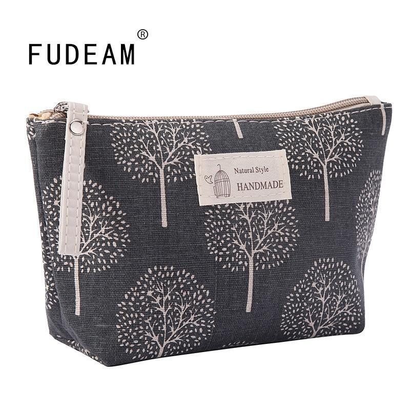 FUDEAM Soft Canvas Bear Tree Print Pattern Women Travel Storage Bag Toiletries Organize Cute Cosmetic Bag Portable Make Up Bags Cosmetic Bags & Cases  - AliExpress