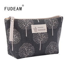 FUDEAM Soft Canvas Bear Tree Print Pattern Women Travel Storage Bag Toiletries Organize Cute Cosmetic Bag Portable Make Up Bags