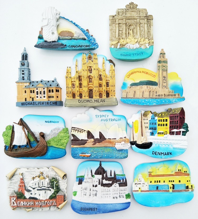 Magnetic Refrigerator Magnets Singapore Norway Italy <font><b>Sydney</b></font> India Denmark Morocco Tourism Souvenir Fridge Stickers Home Decor image