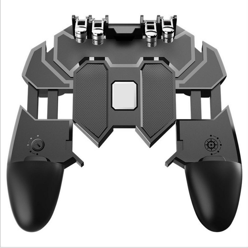 Six Finger Mobile Game Controller Gamepad Trigger Aim Shooter Button Joystick Black