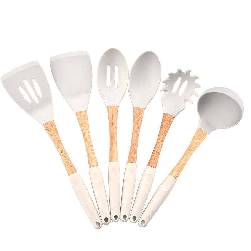 Kitchen Utensils and Cooking Spatula Made with Food Grade Silicone and Wood for Serving Food