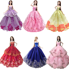 NK One Pcs Fashion Princess Wedding Dress Noble Party Gown For Barbie Doll Fashion Design Outfit Best Gift Accessories JJ nk one pcs fashion doll head hair diy accessories for barbie kurhn doll best girl gift child diy toys