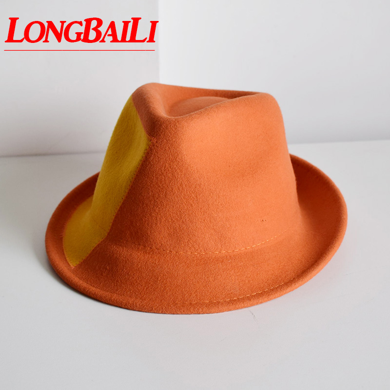 LongBaiLi Winter Wool Felt Fedora Hats For Men Chapeu Masculino Panama Orange Patchwork Jazz Free Shipping PWFR067