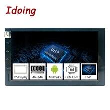 Автомобильный мультимедийный плеер Idoing, 2Din, Android 9,0, 7 дюймов, PX5, 4 Гб + 64 ГБ, Восьмиядерный процессор, GPS, DSP, радио, IPS экран, видеонаблюдение