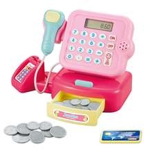 Interaction Cash Register Toy Pretend Play DIY Kids Children Boys Girls Gifts Roleplay Funny Simulation Light Sound Baby