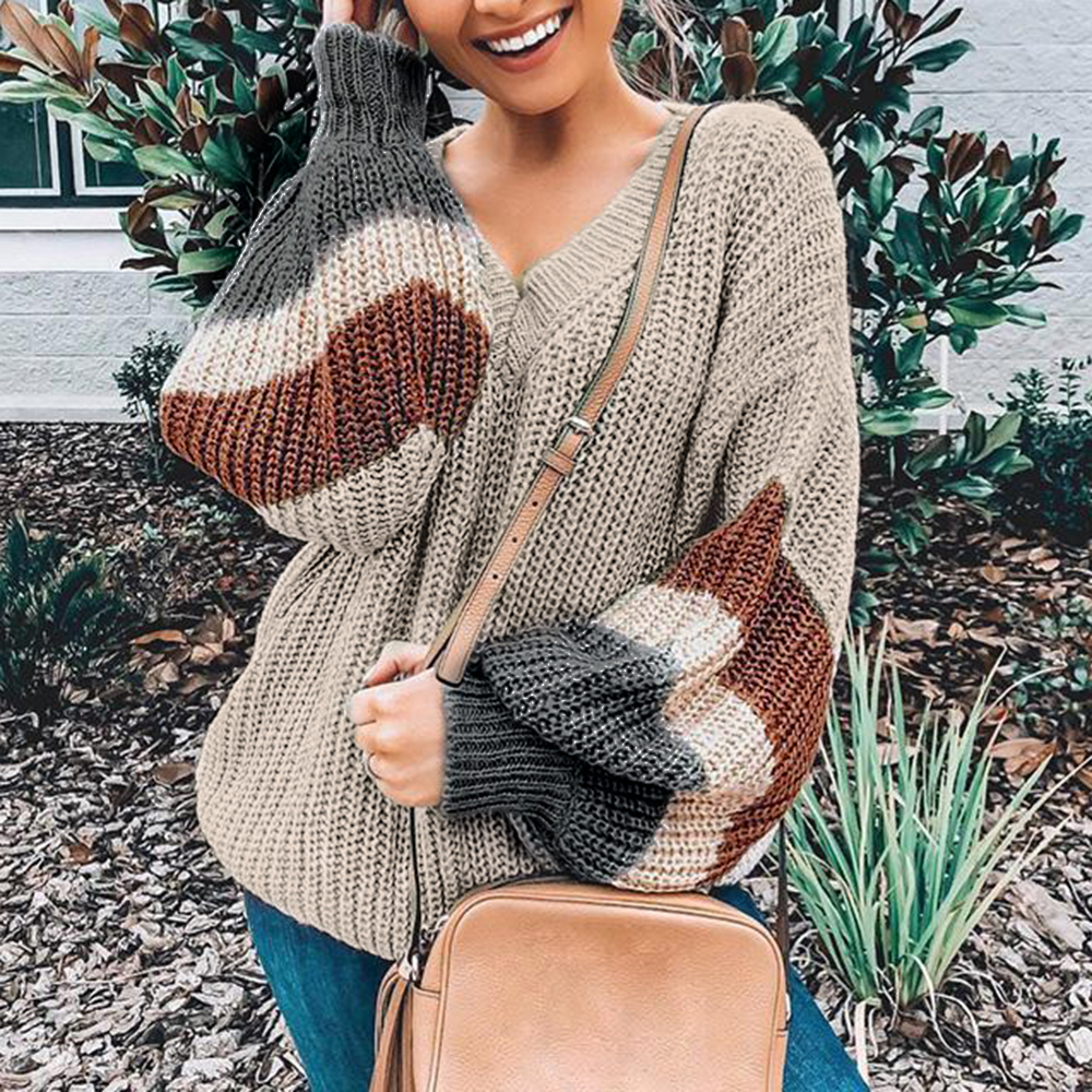 V Neck Plus Jumper Women's Sweater 2019 Winter Patchwork Loose Lantern Sleeve Streetwear Stripe Women's Jumper Female Pullover