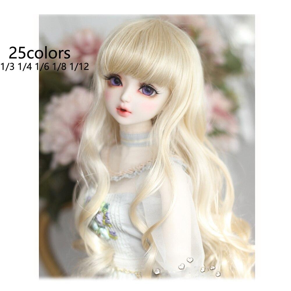 Парик для шарнирной куклы, 25 цветов на выбор, 1/3, 1/4, 1/6, 1/8, модный длинный парик, крупные волнистые вьющиеся волосы, SD парик