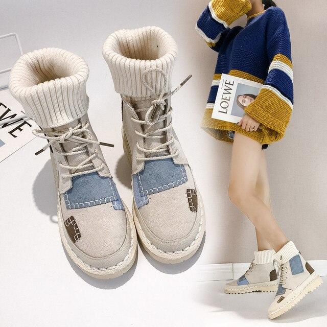 Bigfirse Sneaker Vrouwen Flats Flock Veter Schoenen Vrouwelijke Casual Schoenen Mode Sneakers Vrouwen Hoge Top Dame Patcahwork Martin Laarzen