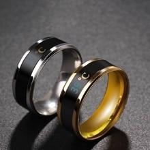 Умное кольцо из нержавеющей стали с датчиком температуры тела, модный дисплей, кольцо на палец с проверкой температуры в режиме реального в...