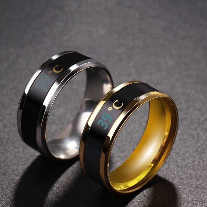 Smart Sensor Body Temperature Ring Stainless Steel Fashion Display Real-time Temperature Test Finger Rings
