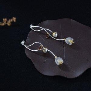 Image 2 - V.YA 925 Sterling Silver Flower Earrings Creative Synthetic Crysta l Campanula Drop Earrings Lovely Women Girls Jewelry