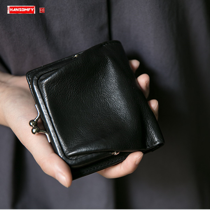 2020 New Mini Purse Women's Short Wallet Black Delicate Sheepskin Multi-card Coin Purse Vertical Women Small Leather Wallets