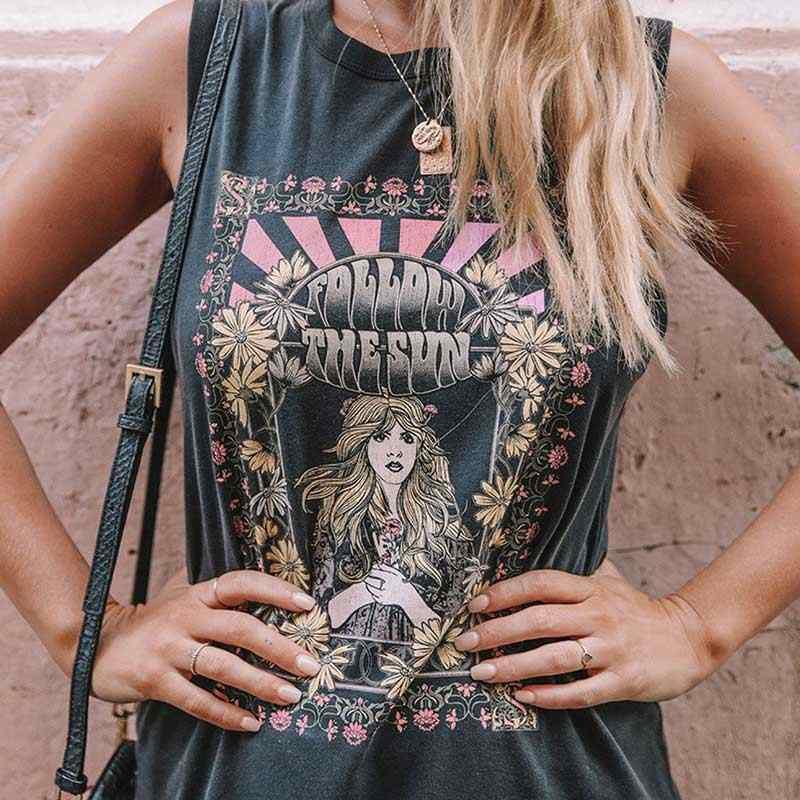 VINTAGE แรงบันดาลใจติดตามดวงอาทิตย์ TEE สีดำ Boho เสื้อ T O-คอฤดูใบไม้ผลิฤดูร้อนใหม่เสื้อผู้หญิงแขนสั้นผู้หญิงเก๋เสื้อยืด