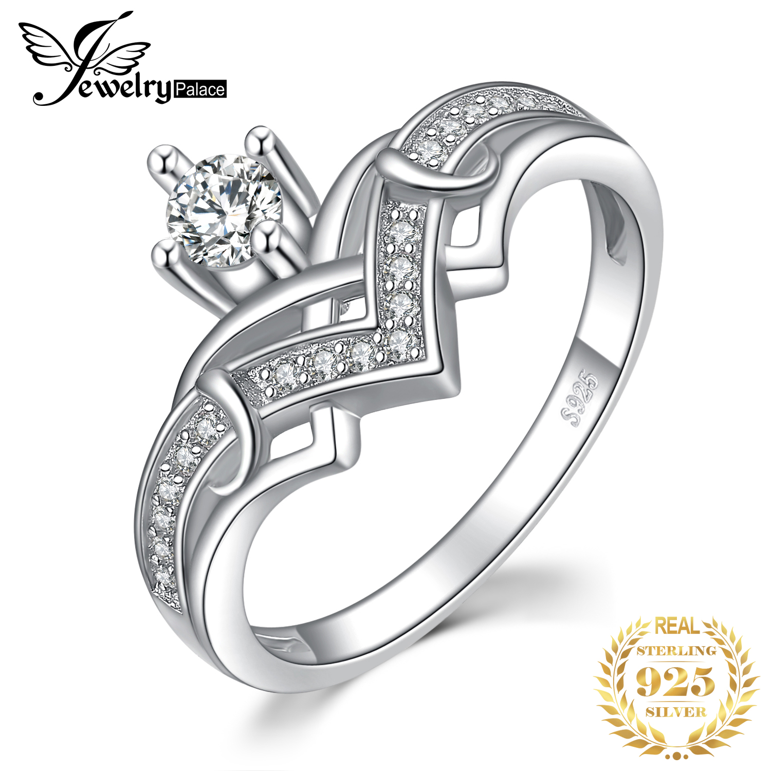JewelryPalace Heart Princess Crown Cubic Zirconia Anniversary Promise Engagement Ring 925 Sterling Silver