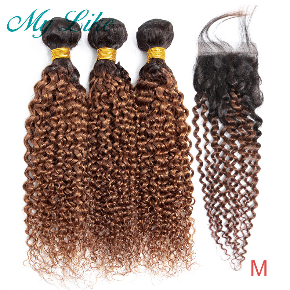 My Like Ombre Kinky Curly Bundles With Closure 1b 30 Brown Ombre Brazilian Hair Weave Non-remy Human Hair Bundles With Closure