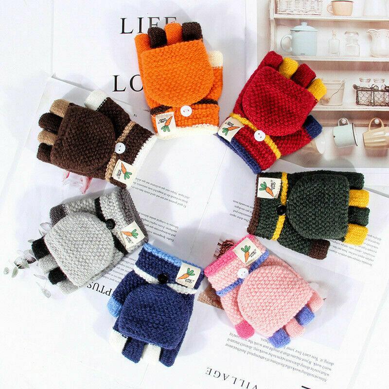 2020 New Arrival Kids Boy Girl Warm Winter Gloves Half Finger Flip Cover Knitting Mittens Children Fingerless Gloves
