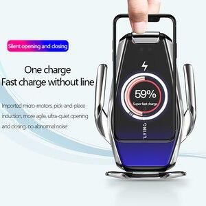 Image 3 - 15W מטען אלחוטי אינפרא אדום חיישן אוטומטי Qi טעינה מהירה טלפון מחזיק רכב הר עבור IPhone 12 11 XS XR 8 סמסונג S20 S10