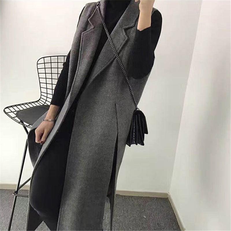 Autumn Winter New Korean Woolen Suit Vest Slim Casual Split Long Sleeveless Jacket Waistcoat Large Size Women's Clothing F1514