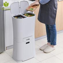 Grandes três camadas de lixo latas de lixo cozinha armazenamento vertical resíduos caixas de classificação com roda saco de lixo titular reciclável