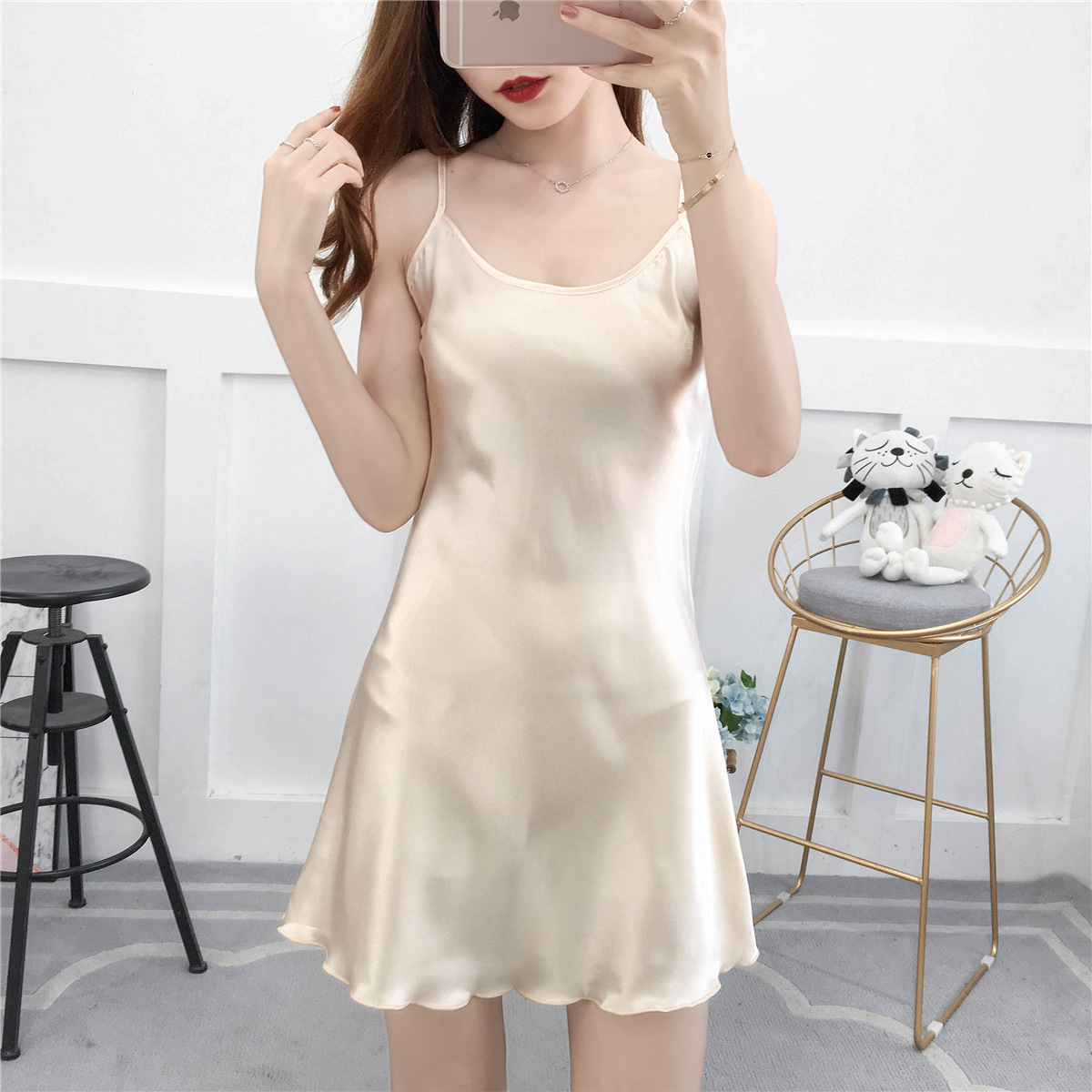 3XL Women Nightwear Summer Nightie Sleeveless Home Dress Satin Nightdress Nightgown Sexy Sleepwear Sleepshirt Plus Size