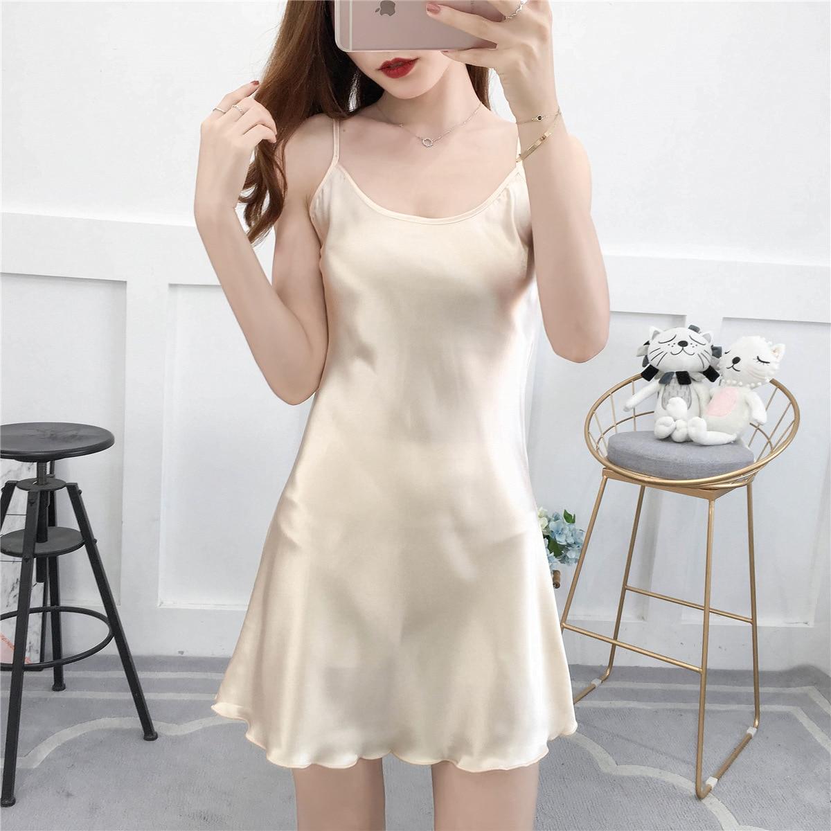 3XL Women Nightwear Summer Nightie Sleeveless Home Dress Satin Nightdress Nightgown Sexy Sleepwear Sleepshirt Plus Size