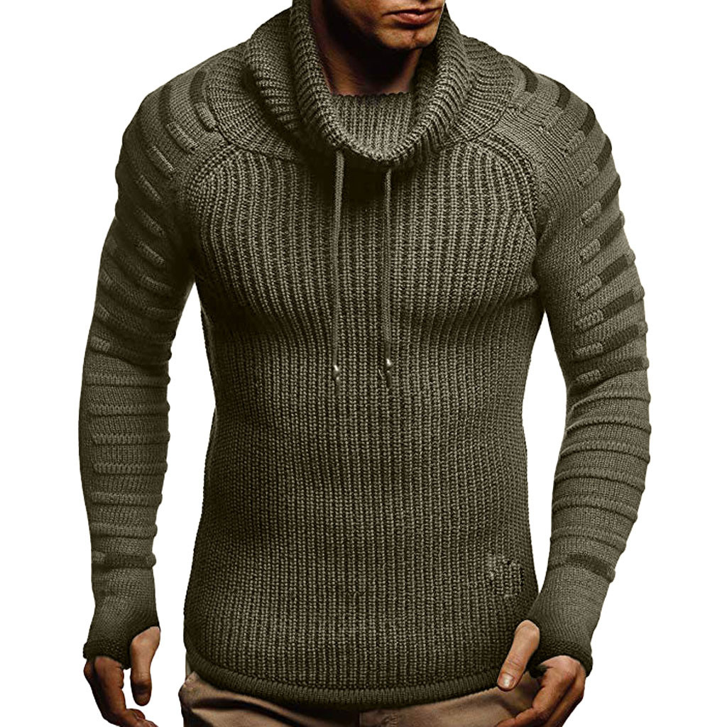 Sweater Men Autumn Winter Turtleneck Pullover Slim Knitted Raglan Drape Choker Sweater Blouse Top Wholesale Free Ship Z4
