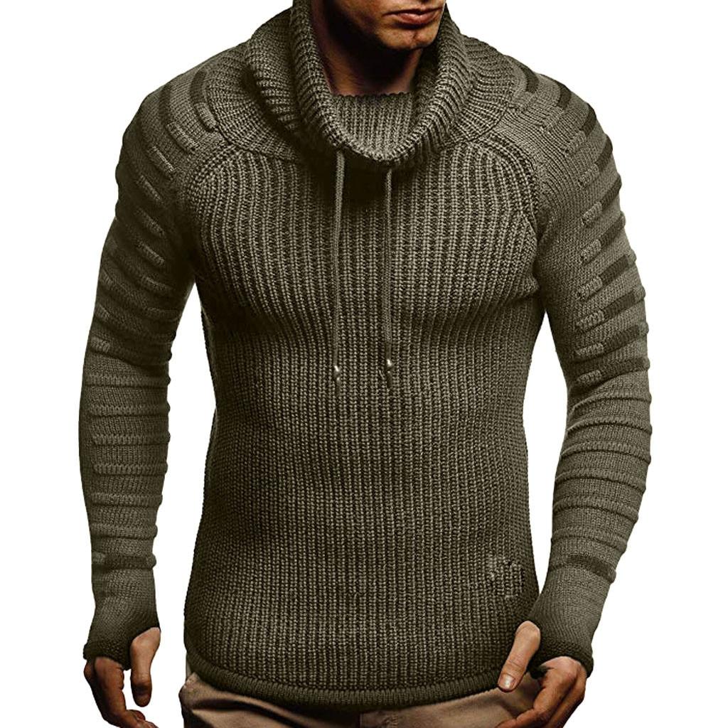 Sweater Men Autumn Winter Turtleneck Pullover Slim Knitted Raglan Drape Choker Sweater Blouse Top Wholesale Free Ship Z4