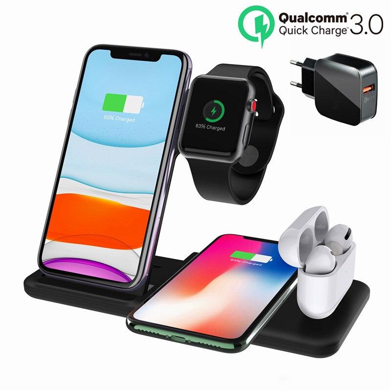 Беспроводное зарядное устройство Qi 4 в 1, 15 Вт, для iphone 12, 11, XR, XS, зарядная док-станция для Airpods Pro Watch 6, 5, 4, док-станция для зарядки часов