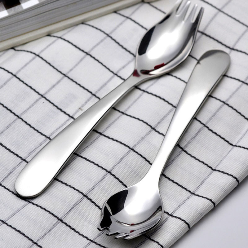 Fork And Spoon Stainless Steel Restaurant Dinnerware Flatware Salad Servers Tool