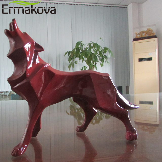 ERMAKOVA Wolf Statue Modern Abstract Geometric Style Resin Wolf Animal Figurine Office Home Decoration Accessories Gift 2