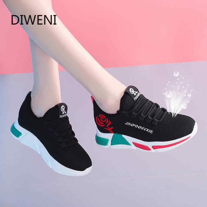 Diweini 2020 primavera nova mulher sapatos casuais moda respirável leve caminhada malha rendas até sapatos planos tênis feminino