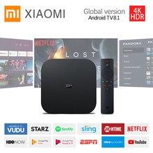 Versão global xiaomi caixa s tv conjuntos 4k hdr dolby google assistente netflix mi tv vara android 8.1 controle inteligente media player