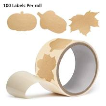 100Pcs/Roll DIY Kosong Kraft Kertas Label Buatan Tangan Baking Stiker Perekat Segel Label Natal Hadiah Tags Dekorasi untuk jar(China)