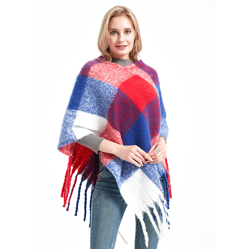 Wearing Scarf For Women Poncho Winter Scarves With Tassels Women Warm Shawls Plaid Cape