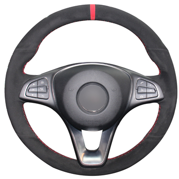 Hand-stitched Black Suede Car Steering Wheel Cover for Mercedes Benz C180 C200 C260 C300 B200 E200 E300 CLS260 CLS3