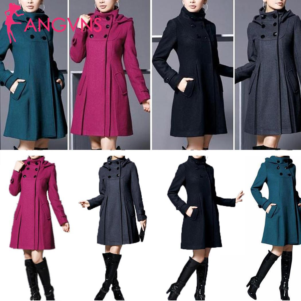 Women Fashion Woolen Coat Jacket Medium Long Multi-size Solid A-line Warm Casual, Office Slim Coat Causal